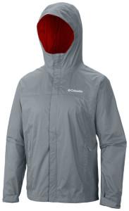 grey rain jacket