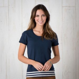 navy striped shirt