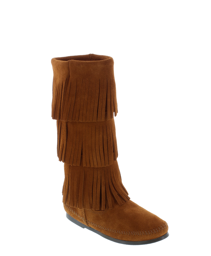 3 layer fringe boot minnetonka moccasin nokomis shoes
