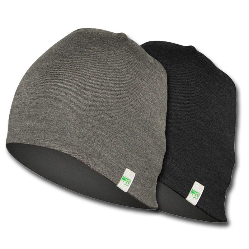 Gray and black reversible hat