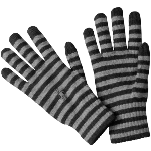 black and grey striped glove