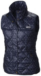 navy vest with dots