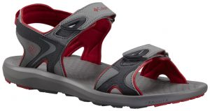 gray and red sandal