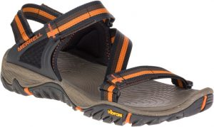 black and orange sandal