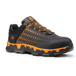 black and orange shoe